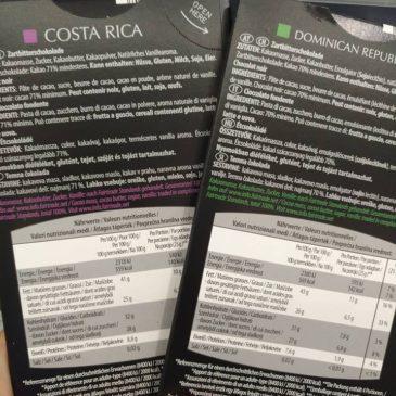 Étcsokoládék %-os kakaótartalma